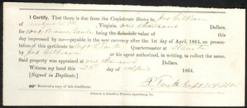 1864 Confederate Impressment Receipt – Captain Rudolph Turk, AQM