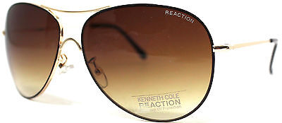 Kenneth Cole Reaction Mens Sunglass Gold Metal Aviator, Gradient Lens KC1222 33F