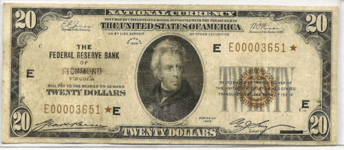 1929 STAR $20 NATIONAL CURRENCY ~ FEDERAL RESERVE BANK RICHMOND ~ #651