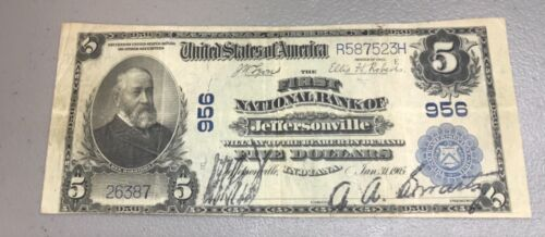 Jeffersonville , Indiana, First national bank , 1902 PB $5 , Very fine