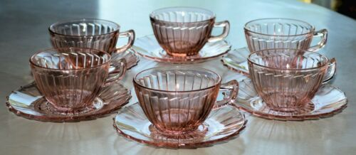 JEANNETTE SIERRA PINWHEEL (SET of 6) CUP & SAUCER SETS Depression Glass PINK