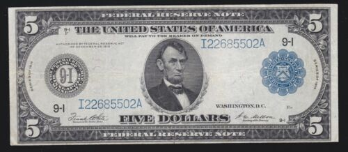 US 1914 $5 FRN Minneapolis Note FR 879a VF (502)