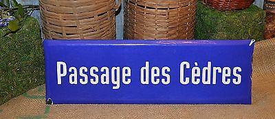 Vintage French Blue Enamel Street Sign Passage des Cedres - Passage of Cedars](French Street Sign)