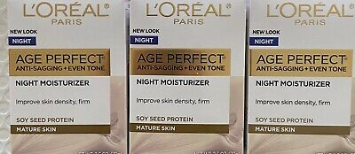 ✦ NEW LOOK ✦ 3 L'OREAL PARIS AGE PERFECT FOR MATURE SKIN NIGHT CREAM 2.5 OZ EACH
