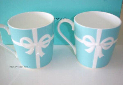TIFFANY & CO BONE CHINA Blue Bow Ribbon Mug Cup set of 2 w/ Box from Japan New