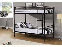 Superb Finish -- Robust Frame -- Brand New Single Metal Bunk Bed Frame + Mattresses -- Brand New