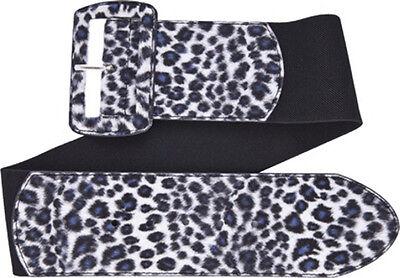 67054 Gray Leopard Print on Black Wide Stretch Belt Sourpuss Pinup X-Large XL