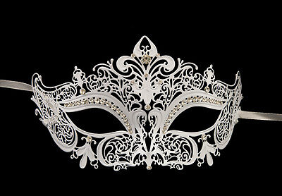 Mask Venetian Wolf in Lace - White Metal and Diamante Carnival Venice 1266