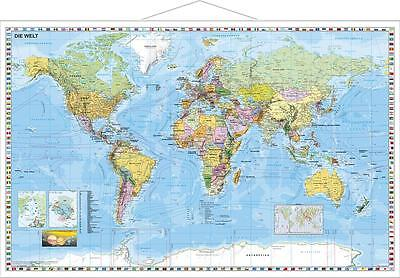 Weltkarte (deutsch), 137 x 89 cm mit Metallleiste