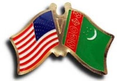Pack of 50 USA American Turkmenistan Friendship Flag Hat Cap lapel Pin