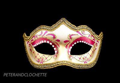 Mask Wolf of Venice Colombine Tip Pink Gold Prom Evening 894 V28