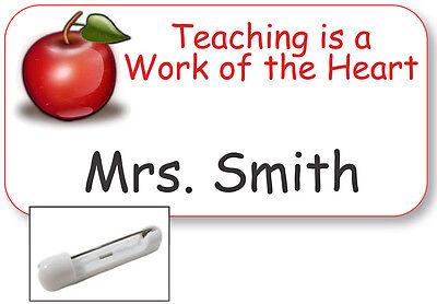 White Name Badge Tag Favorite Teacher Gift Christmas Present Safety Pin Fastener
