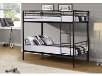 """""""RRP£270"""" VERY STRONG METAL BUNK BED - AVAILABLE IN THREE COLORS (BLACK/WHITE/SILVER) Opt Mattress"""