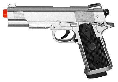 CYMA ZM25S SILVER 1911 METAL AIRSOFT SPRING PISTOL HAND GUN TOY 6mm BB's 230 FPS