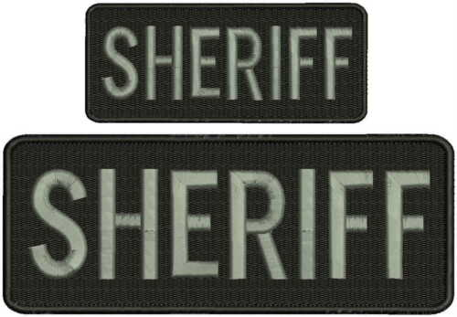 """""""Sheriff"""" embroidery patch 3x8 and 2x4 inches hook grey letters"""
