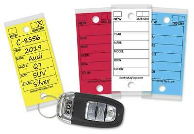Car Dealer Key Tags Laminated Self-protecting 250 Tags W Metal Rings