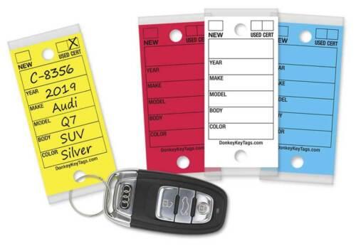 Car Dealer Key Tags (Laminated Self-Protecting) (250 Tags w/ Metal Rings)
