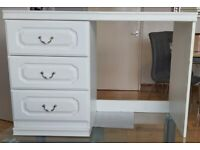 ONO Good Condition White Classic Dressing Table/Desk With Three Drawers