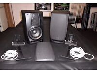 Aiwa Speakers with Wall Brackets & Cable