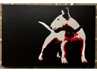 English Bull Terrier Picture Art DOG Painting Canvas Furniture