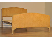 "Attractive Vintage Art Deco 48"" Birds Eye Maple Bed Ends, With Slatted Base"