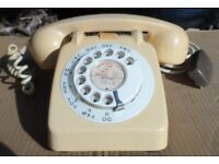 GPO 706L CREAM ROTARY DIAL VINTAGE TELEPHONE 50s/60s