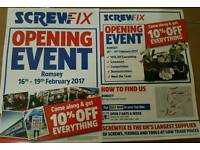 Screwfix Romsey Grand Opening 10% OFF Everything
