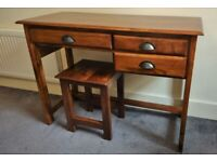 Dark Oriental style hardwood stylish desk with matching stool