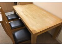 Solid Wood Dining Table + 6 Solid Wood Chairs with Black Leather Seats