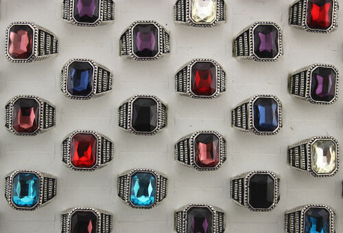 Wholesale Mixed Lots 30pcs Colorful Glass Alloy Fashion Jewelry Men