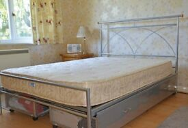 """4' 6"""" metal bed frame with storage drawers and mattress"""