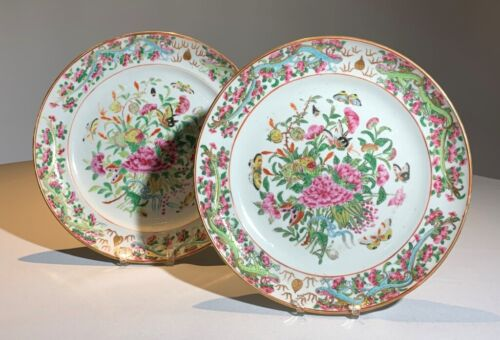 CHINESE Pair Antique FAMILLE ROSE Floral BUTTERFLY Plate SERPENTS Dragons Export