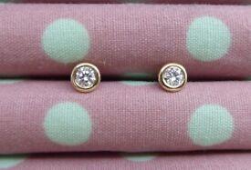Tiffany 18k Yellow Gold Diamond Stud Earings .16 carats