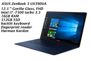 ASUS ZENBOOK 3 UX390UA 12.5'' Gorilla glass  FHD, Intel i7-7500 ,3.5GHZ, 16GB, 512GB SSD, backlit keyboard, Fingerprint