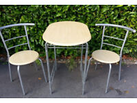 Café Table and set of 2-Chairs – Had little use. Landlords Furniture? Kitchen, Garden, Flat