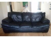 Three seater black sofa - couch - settee