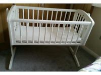 Mothercare white crib with Mattress (washable protection cover and one cot bumper) - hardly used