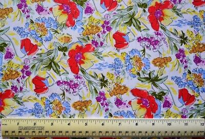 By the 1/2 yd 100% cotton fabric David Textiles Evelyn's Tulips Ivory/Red floral - Tulip Fabric
