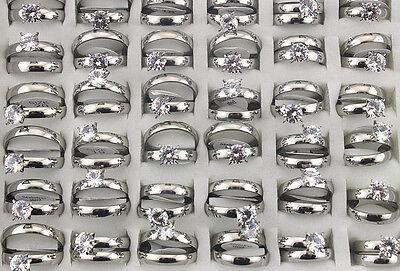 35pcs Bulk Lots Wedding Engagement 2 in 1 Stainless Steel Fashion Ring AH494 - Rings In Bulk