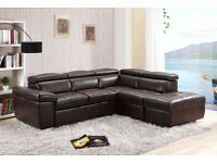 Luxury Emerald Corner Sofabed in Brown Free Delivery & Home Assembly Incl.