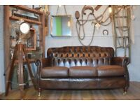 Thomas Lloyd Chesterfield Vintage Leather 3 Seater Sofa Brown