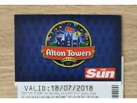 2 x Alton Towers/CBeebies Land Tickets - 18/07/18