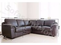 Large Corner Group Sofa - Brown PU Leather - Excellent condition