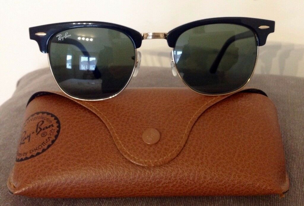 1063cedcc6 RAY-BAN CLUBMASTER Black Gold G-15 Sunglasses RB 3016 W0365 49  21 140 3N