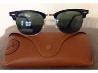 RAY-BAN CLUBMASTER Black/Gold G-15 Sunglasses RB 3016 W0365 49[]21 140 3N