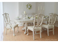 ** WOW !! ** UNIQUE & BEAUTIFUL ** French Antique Shabby Chic Provence Dining Table with Six Chairs