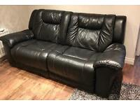 Large black leather recliner couch x2