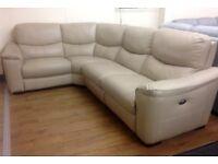 FV Flex Beige Leather Electric Recliner Corner Sofa