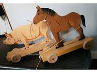 Pair vintage pull along toys
