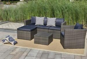 NEW 6 PCS OUTDOOR FURNITURE SET TABLE SOFA CHAIR GRAY HB412648